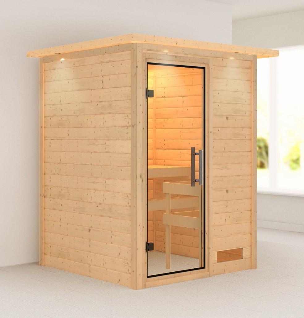 Woodfeeling Sauna Svenja 38mm 230V Dachkranz ohne Ofen Klarglas Tür Bild 1