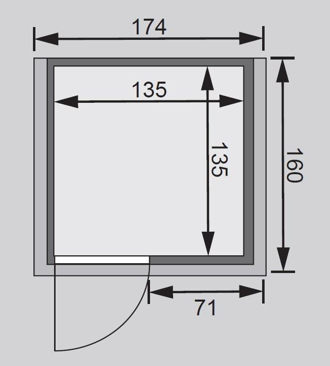 Woodfeeling Sauna Svenja 38mm 230V Dachkranz ohne Ofen Klarglas Tür Bild 2