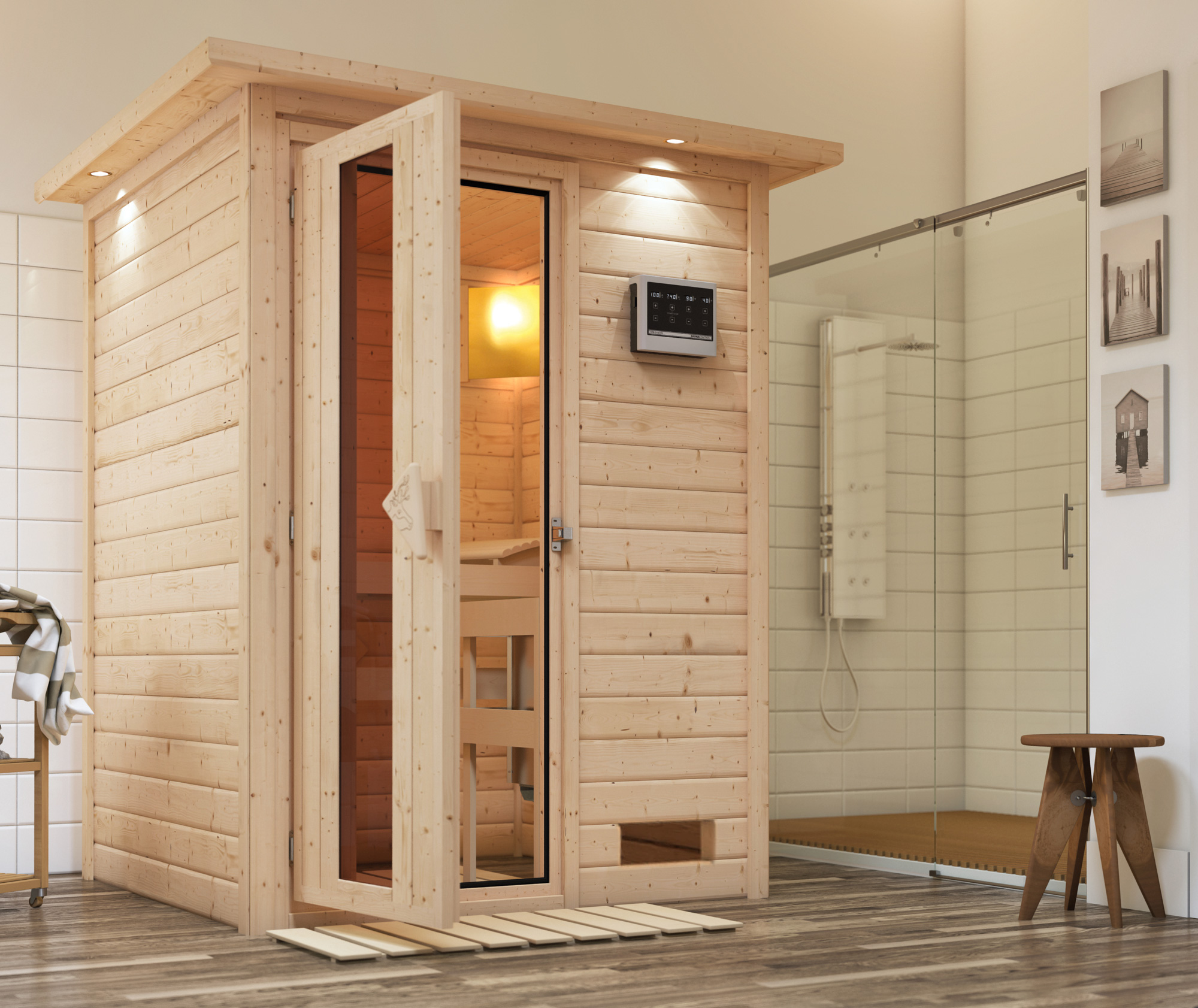 Woodfeeling Sauna Svenja 38mm Bio Saunaofen 9kW Dachkranz Holztür Bild 1