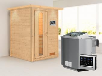 Woodfeeling Sauna Svenja 38mm Bio Saunaofen 9kW Dachkranz Holztür Bild 13