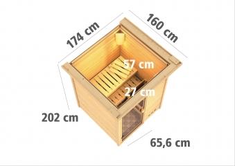 Woodfeeling Sauna Svenja 38mm Bio Saunaofen 9kW Dachkranz Holztür Bild 4