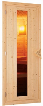 Woodfeeling Sauna Svenja 38mm Bio Saunaofen 9kW Dachkranz Holztür Bild 7