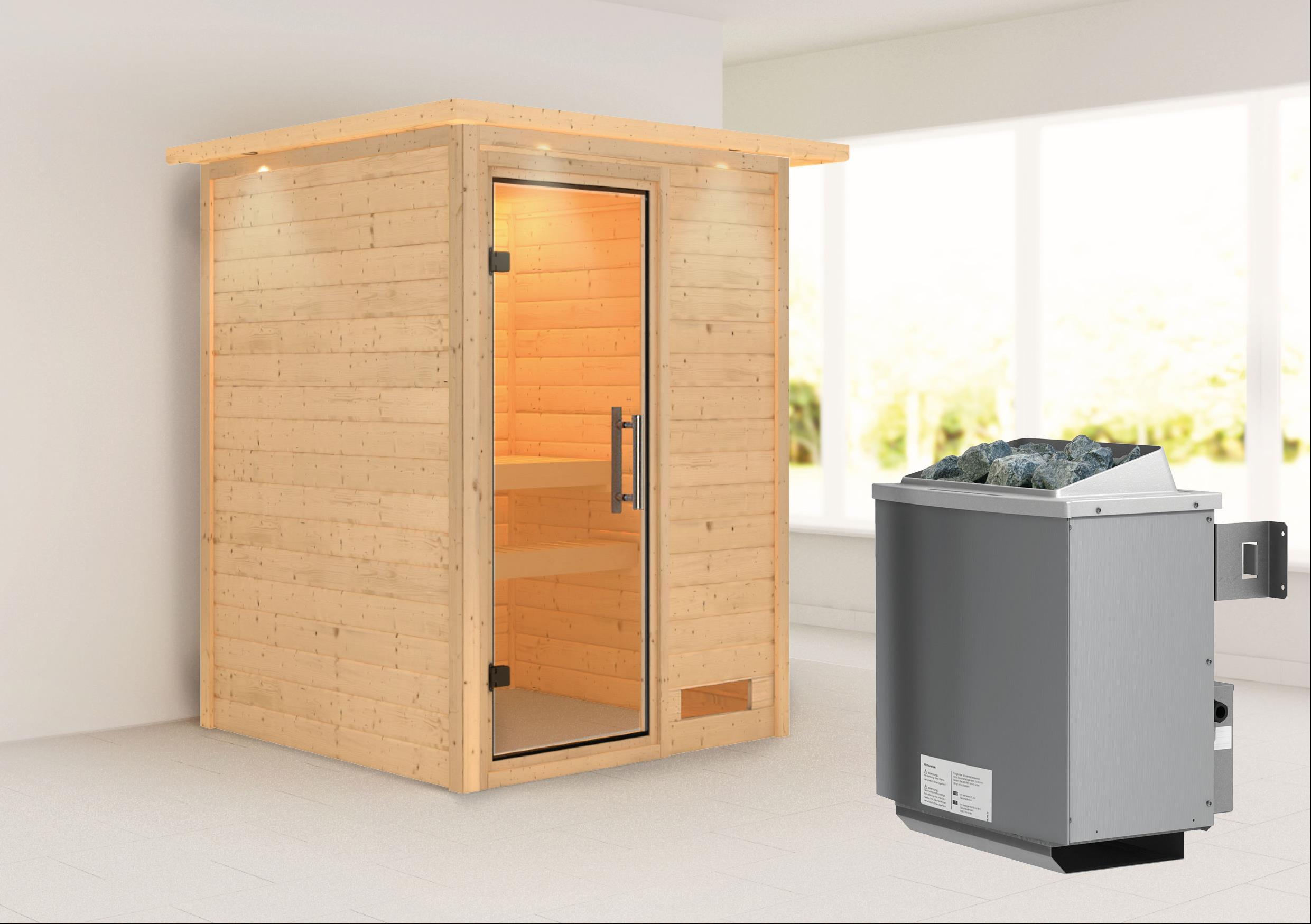 Woodfeeling Sauna Svenja 38mm Saunaofen 9kW intern Kranz Klarglas Tür Bild 1