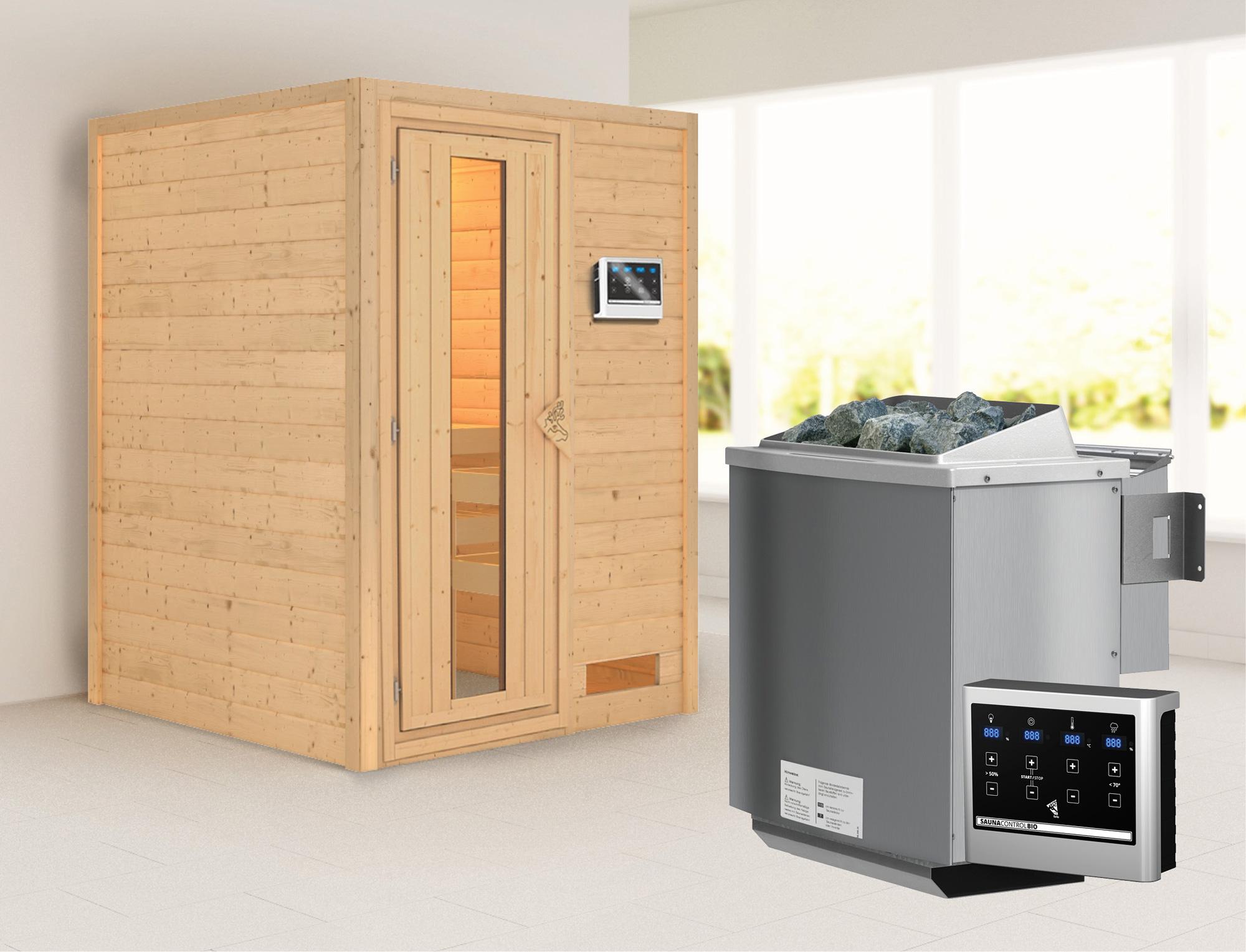 Woodfeeling Sauna Svenja 38mm mit Bio Saunaofen 9 kW extern Holztür Bild 1
