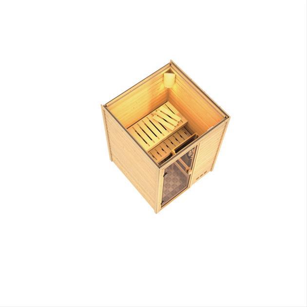 Woodfeeling Sauna Svenja 38mm mit Saunaofen 9 kW intern Classic Tür Bild 3