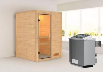 Woodfeeling Sauna Svenja 38mm mit Saunaofen 9 kW intern Classic Tür Bild 1