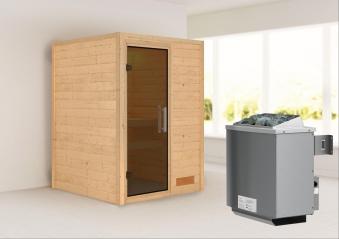 Woodfeeling Sauna Svenja 38mm mit Saunaofen 9 kW intern moderne Tür Bild 1