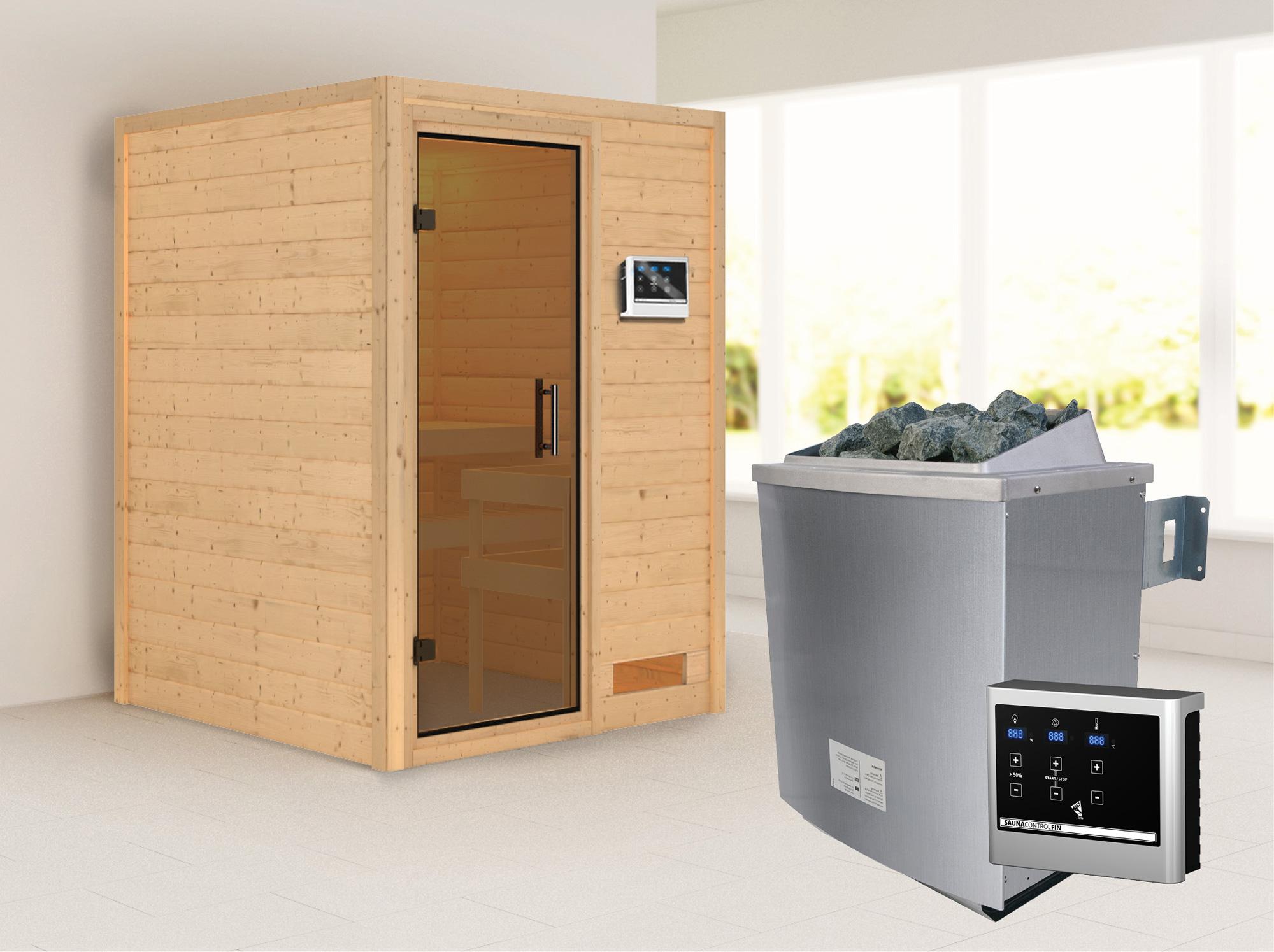 Woodfeeling Sauna Svenja 38mm mit Saunaofen 9 kW moderne Tür Bild 1