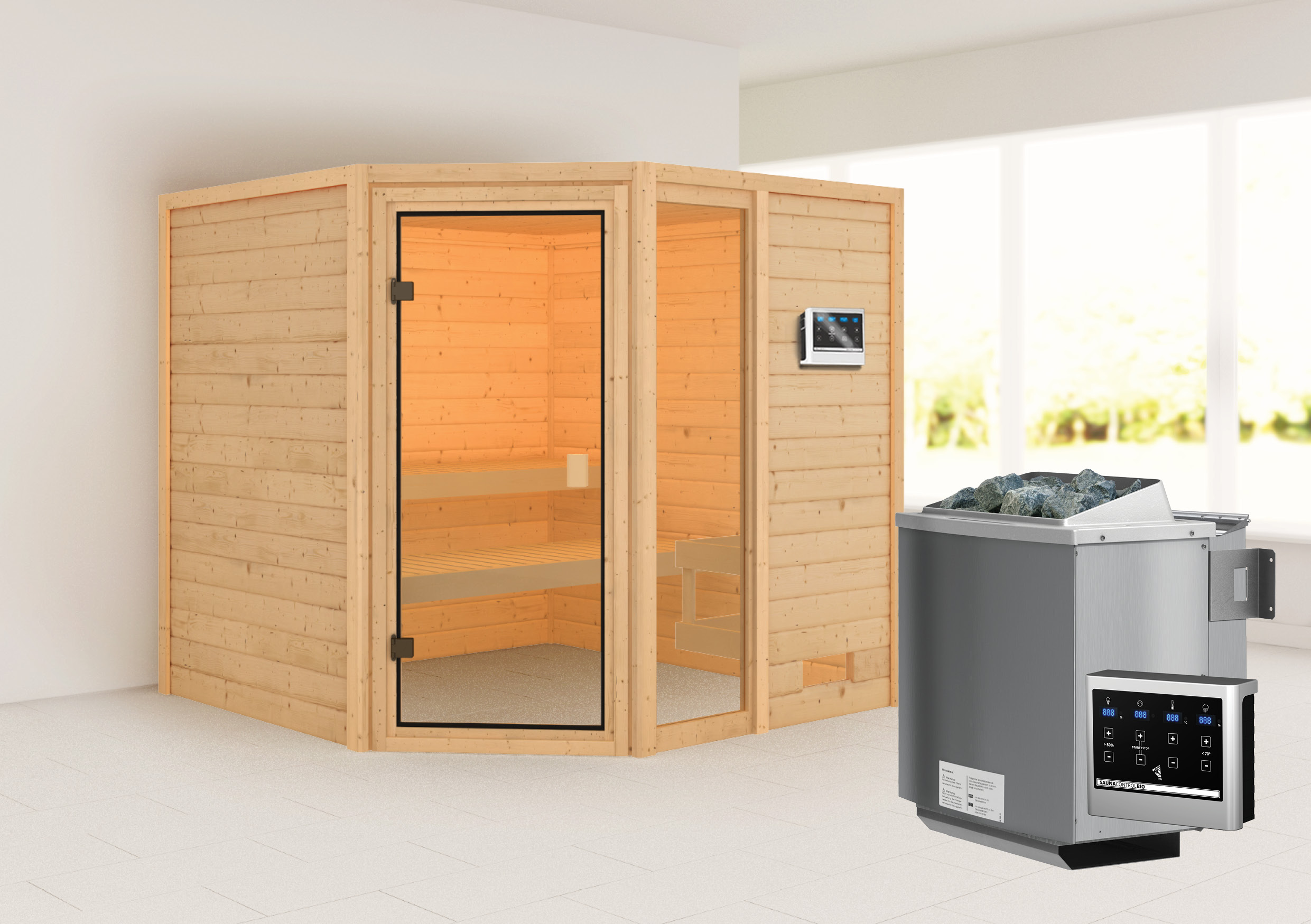 Woodfeeling Sauna Tabea 38mm Bio Saunaofen 9 kW extern Bild 1