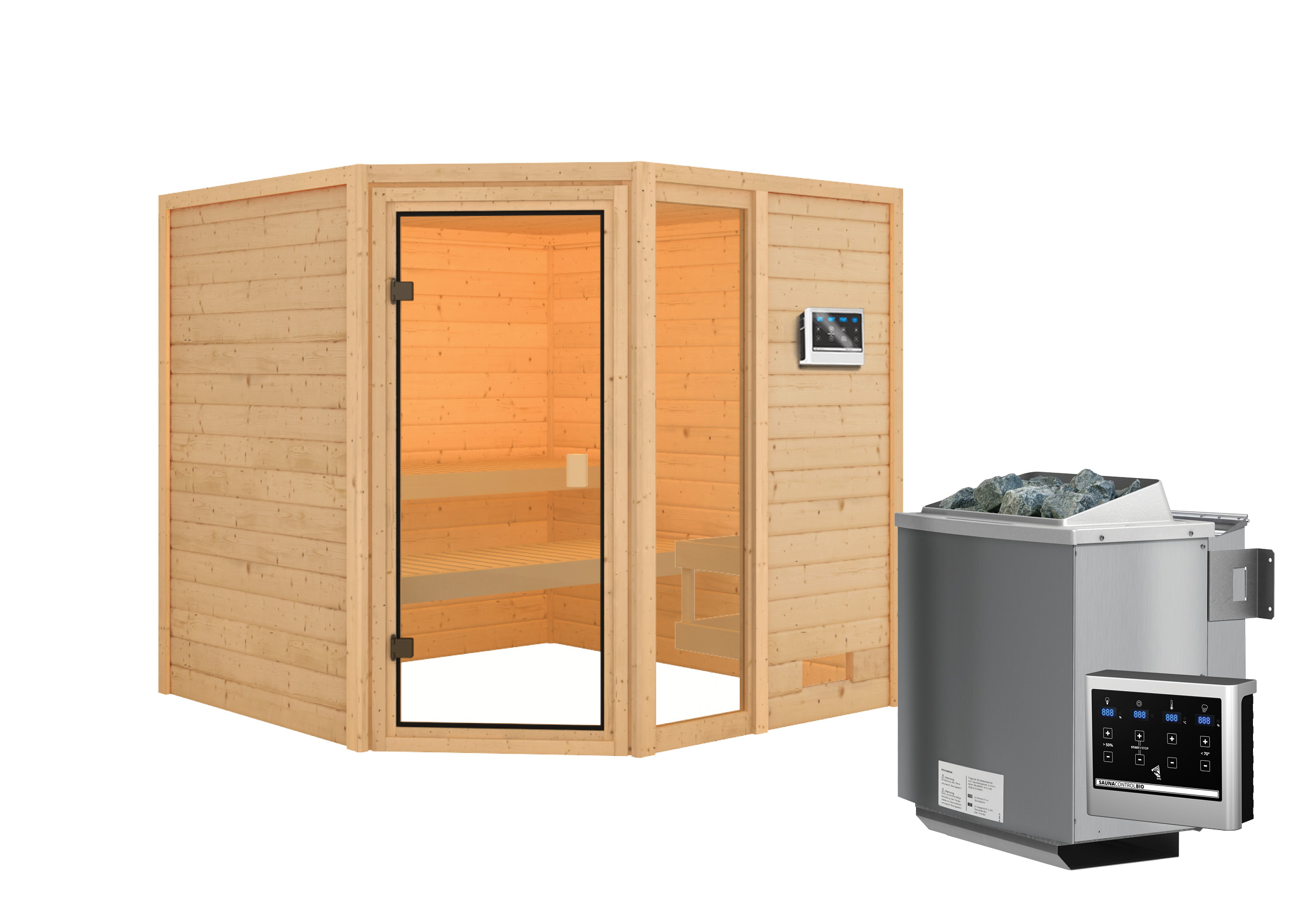 Woodfeeling Sauna Tabea 38mm Bio Saunaofen 9 kW extern Bild 2