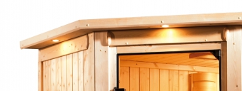 Woodfeeling Sauna Tabea 38mm Dachkranz Bio Saunaofen 9 kW extern Bild 2