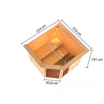 Woodfeeling Sauna Tabea 38mm Dachkranz Bio Saunaofen 9 kW extern Bild 12