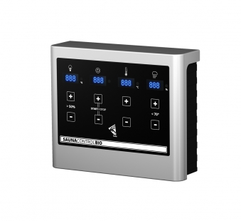Woodfeeling Sauna Tabea 38mm Dachkranz Bio Saunaofen 9 kW extern Bild 8