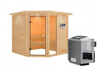Woodfeeling Sauna Tabea 38mm Dachkranz Bio Saunaofen 9 kW extern Bild 10
