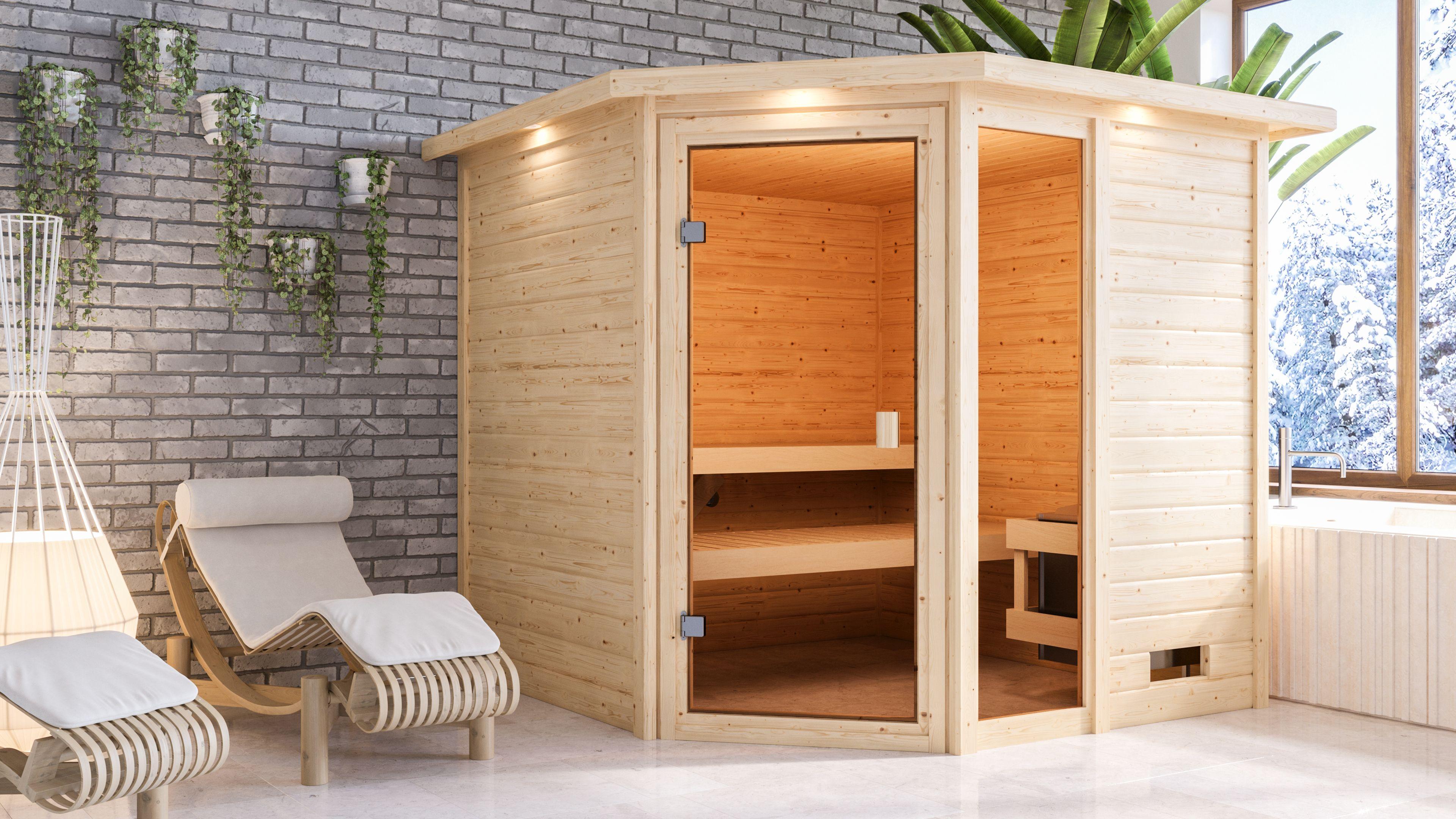 Woodfeeling Sauna Tabea 38mm Dachkranz Saunaofen 9 kW intern Bild 4