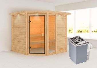 Woodfeeling Sauna Tabea 38mm Dachkranz Saunaofen 9 kW intern Bild 1