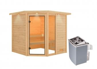 Woodfeeling Sauna Tabea 38mm Dachkranz Saunaofen 9 kW intern Bild 3