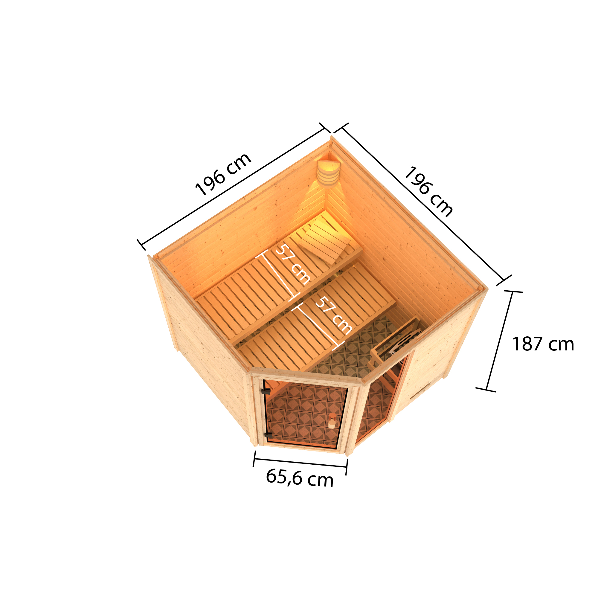 Woodfeeling Sauna Tabea 38mm ohne Saunaofen Bild 3
