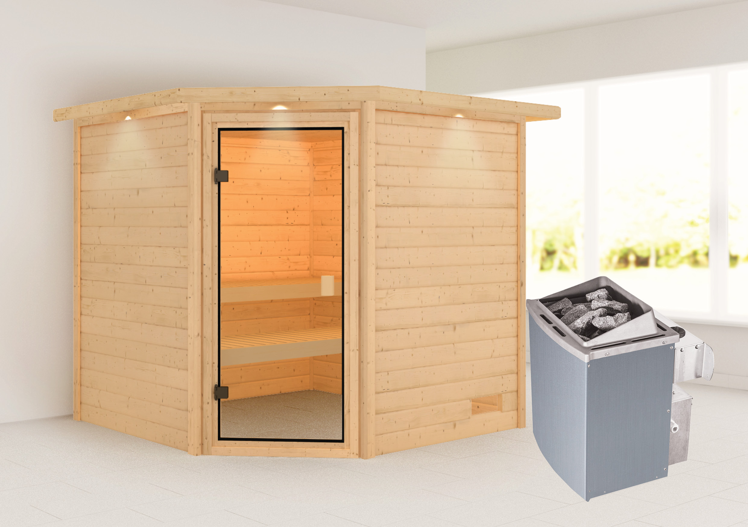 Woodfeeling Sauna Tilda 38mm Dachkranz Saunaofen 9kW intern Bild 1