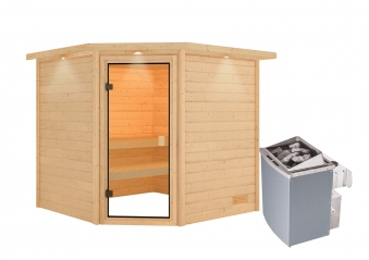 Woodfeeling Sauna Tilda 38mm Dachkranz Saunaofen 9kW intern Bild 8