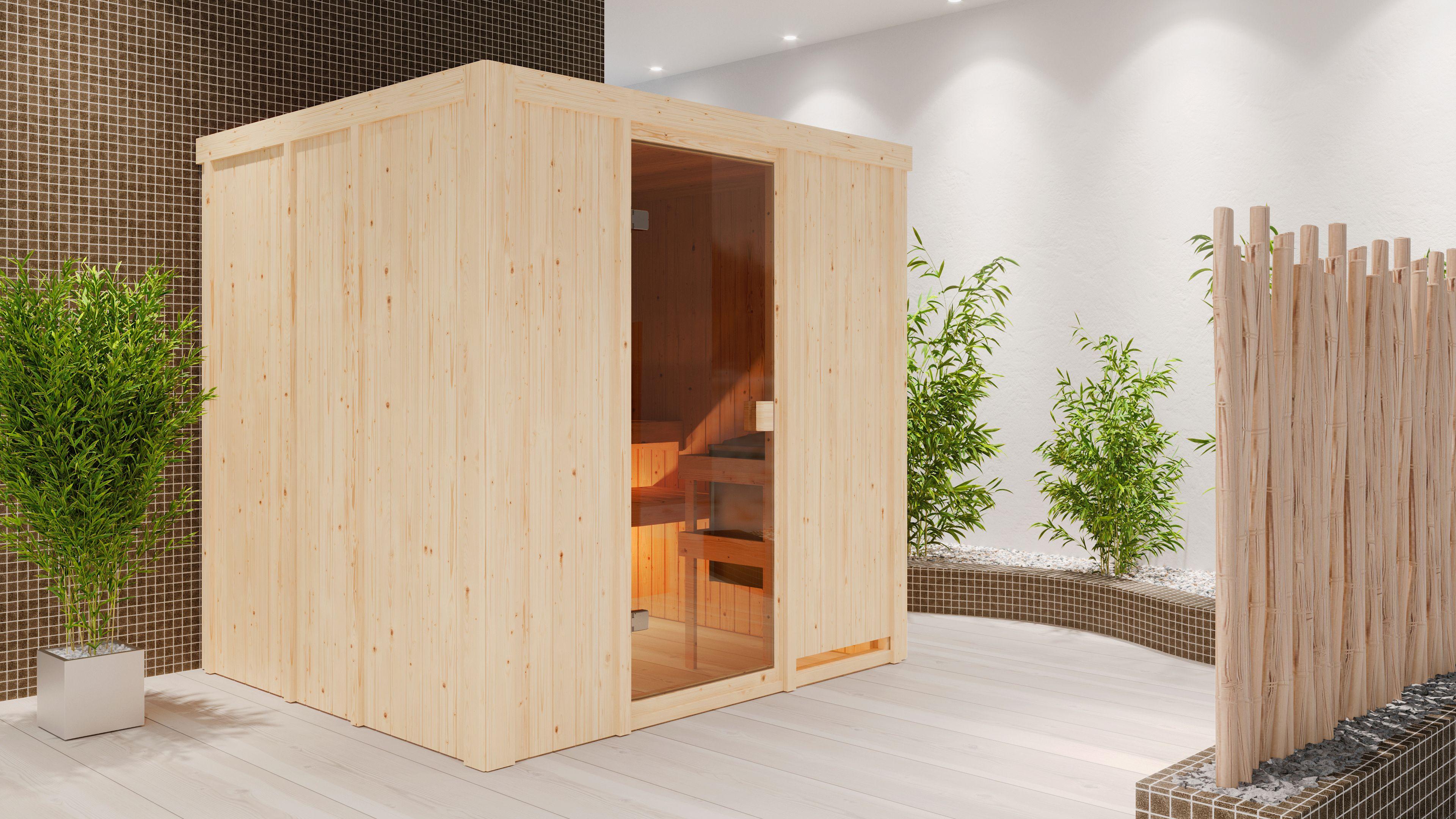 Woodfeeling Sauna Tromsö 68mm ohne Saunaofen Bild 6