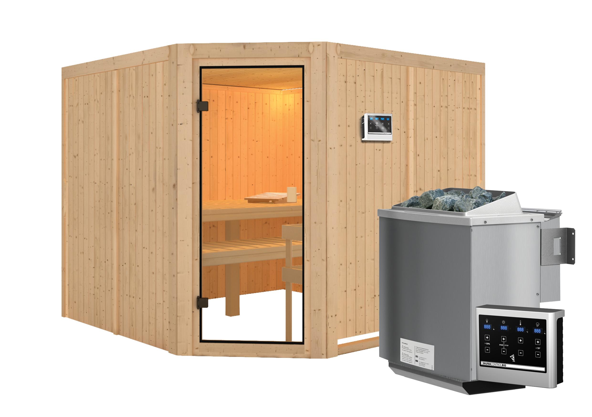 Woodfeeling Sauna Ystad 68mm Bio Saunaofen 9kW extern Bild 12