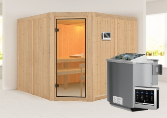 Woodfeeling Sauna Ystad 68mm Bio Saunaofen 9kW extern Bild 1