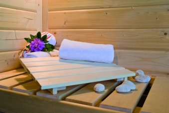 Woodfeeling Sauna Ystad 68mm Bio Saunaofen 9kW extern Bild 3