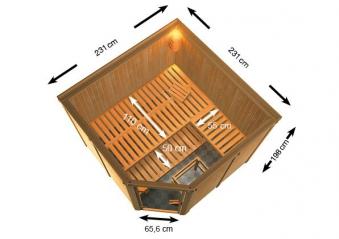 Woodfeeling Sauna Ystad 68mm Bio Saunaofen 9kW extern Bild 5