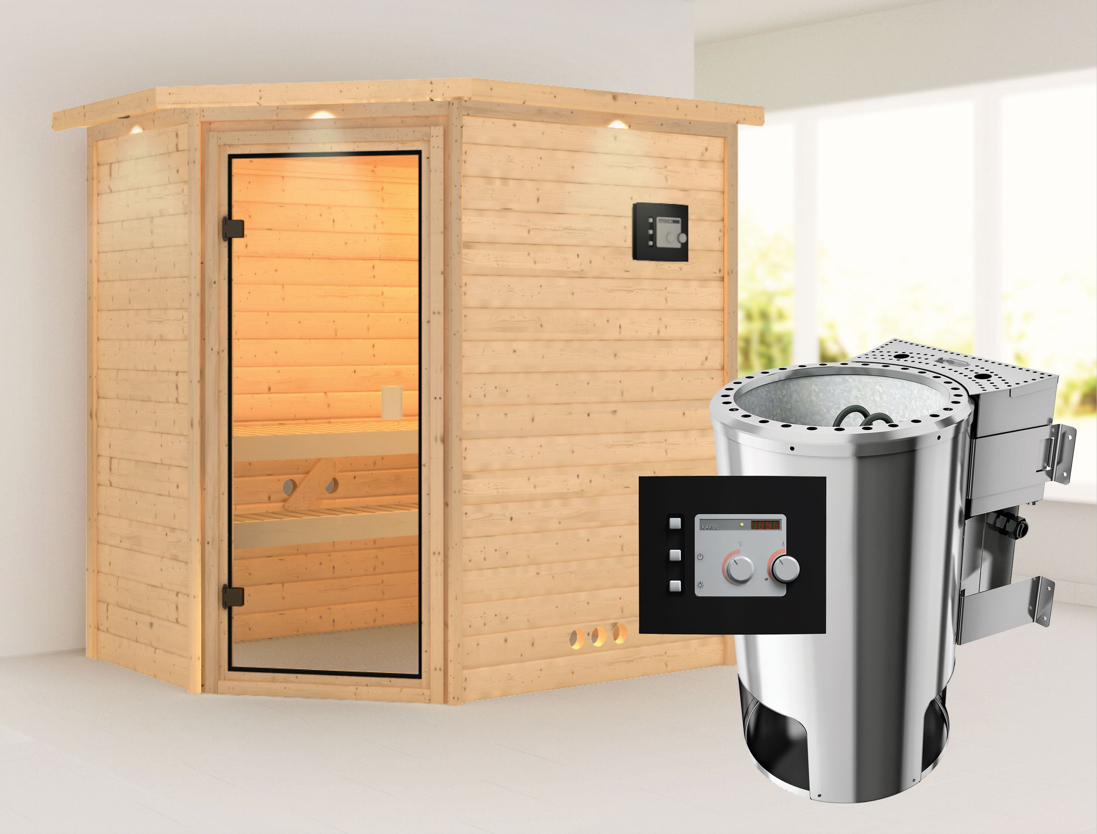 karibu sauna cilja 230 volt mit dachkranz bio saunaofen 3. Black Bedroom Furniture Sets. Home Design Ideas