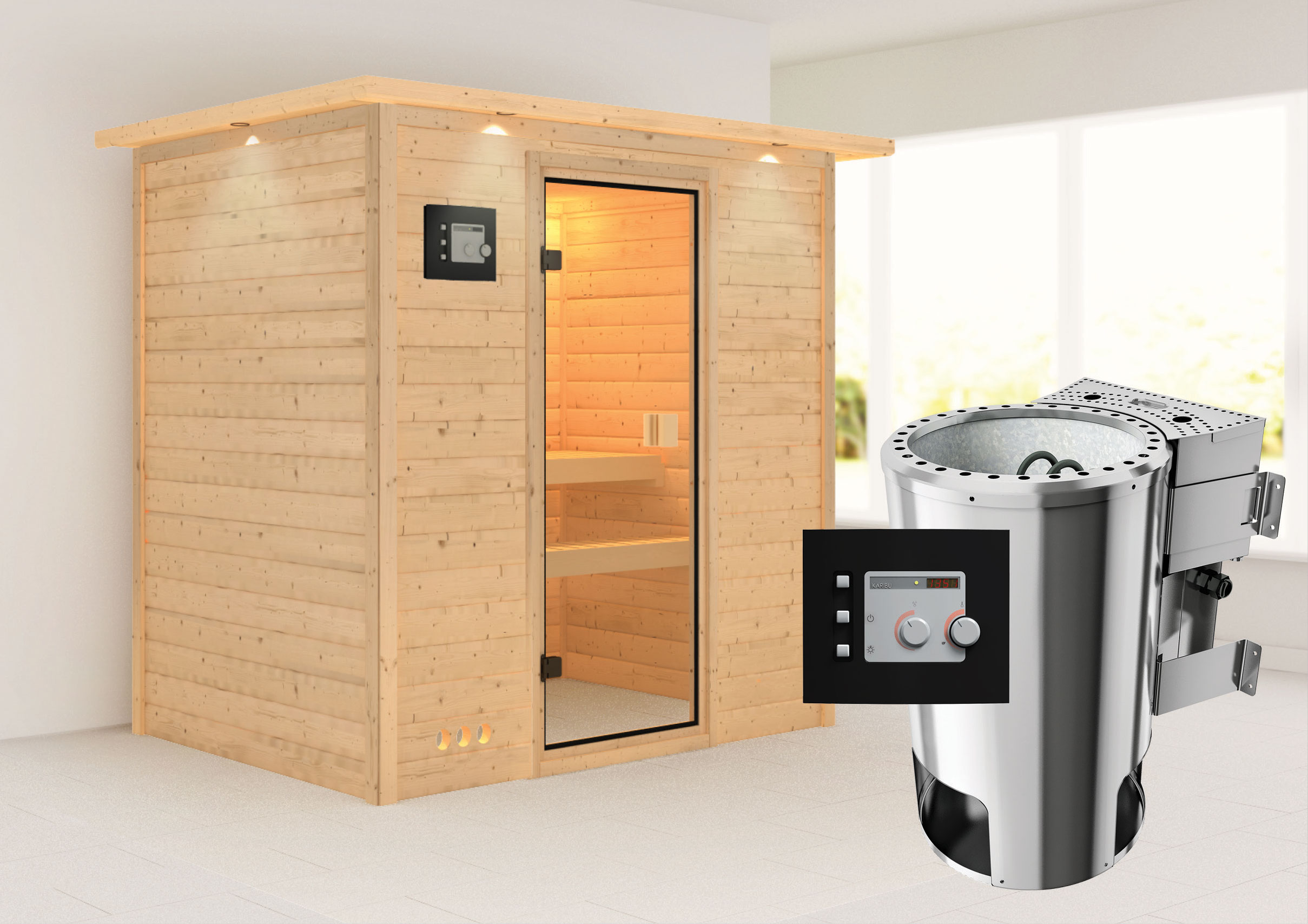 karibu sauna ronja 230 volt mit dachkranz bio saunaofen 3 6kw extern bei. Black Bedroom Furniture Sets. Home Design Ideas